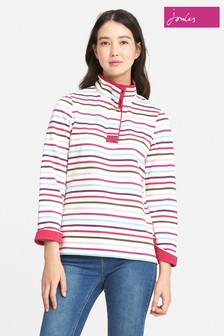 Joules Cream Stripe Saunton High Neck Sweatshirt