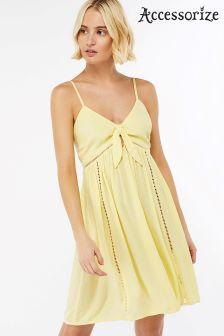 Accessorize Yellow Harper Bow Cami Dress