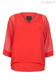Live Unlimited Red Overlay Chiffon Blouse