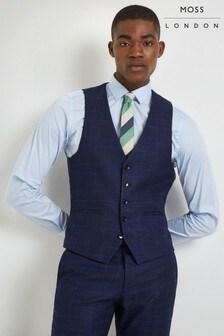 Moss London Skinny Fit Blue Bold Check Waistcoat