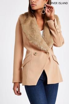 River Island Tan Faux Fur Short Coat