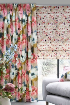 Edinburgh Weavers Nikita Floral Pencil Pleat Curtains