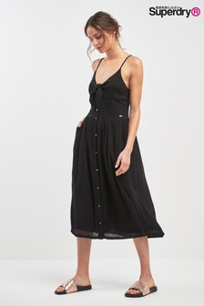 Superdry Black Tie Front Midi Dress