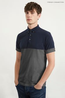 French Connection Blue Classic Engineered Yoke Top