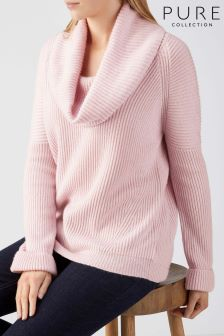 Pure Collection Pink Toccato Ribbed Cowl Neck Sweater