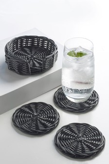 Set of 4 Wicker Effect Coasters with Holder