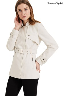 Phase Eight White Cara Soft Biker Coat
