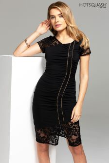 HotSquash Black Lace Detail Ruched Jersey Dress