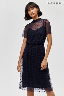 Warehouse Blue Flocked Spot Mesh Dress