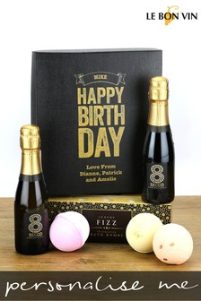 Personalised Happy Birthday Prosecco And Bath Bomb Gift Box by Le Bon Vin