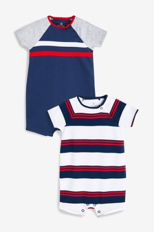 Striped Rompers Two Pack (0mths-2yrs)