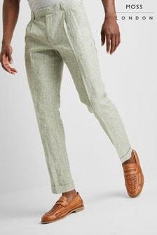 Moss London Premium Skinny Fit Sage Linen Trouser