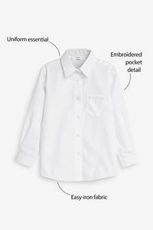 Versierd overhemd met lange mouwen en zak (3-16 jr)