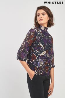 Whistles Fluted Sleeve Montrose Dobby Top
