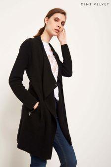 Mint Velvet Black Longline Ottoman Stitch Detail Cardigan