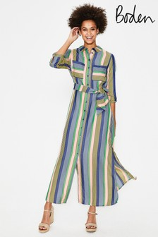 Boden Blue Katrina Maxi Shirt Dress