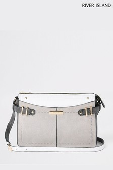 River Island Grey Light Bag Medium Buckle Tab Side Bag