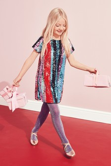 Stripe Sequin Dress (3-16yrs)