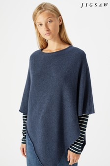 Jigsaw Blue Wool Cashmere Blend Rolled Poncho