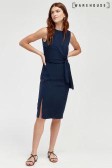 Warehouse Blue Tie Side Pencil Dress
