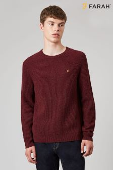Farah Red Garway Lambswool Jumper