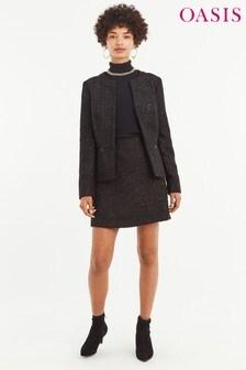 Oasis Black Button Sparkle Tweed Jacket