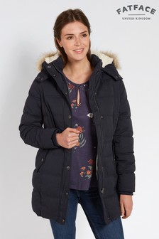 FatFace Navy Cumbria Long Padded Jacket