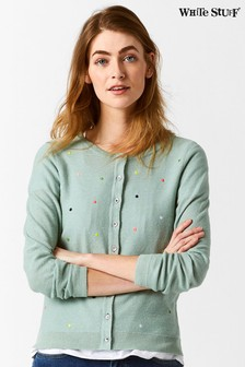 White Stuff Green Spring Spot Cardi