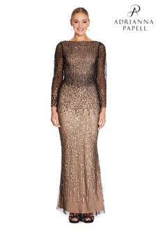 Adrianna Papell Black Beaded Long Gown