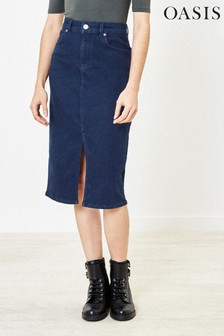 Oasis Blue Split Front Midi Skirt