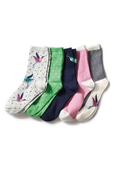 Hummingbird Pattern Ankle Socks Five Pack
