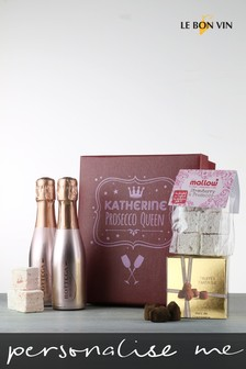 Personalised Prosecco Queen Or King Sparkling Rose Marshmallow Gift Box by Le Bon Vin