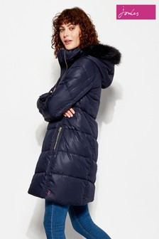 Joules Navy Long Line Hooded Quilted Coat