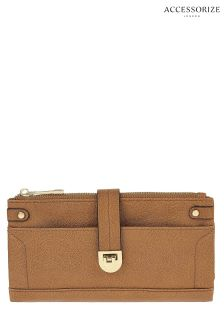 Accessorize Tan Fliplock Foldover Wallet