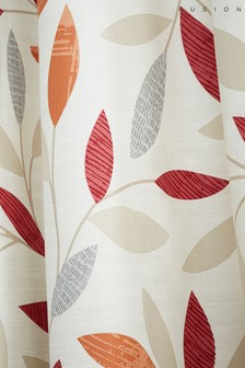Fusion Red Beechwood Leaves Eyelet Lined Curtains