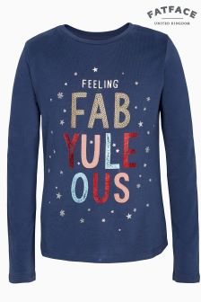 FatFace Blue FabYuleOus Graphic Tee