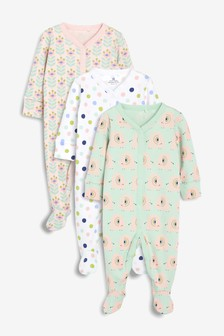 Elephant, Spot & Floral Print Sleepsuits Three Pack (0mths-2yrs)