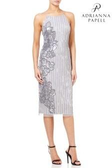 Adrianna Papell Silver Beaded Midi Dress