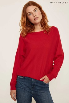 Mint Velvet Red Tie Back Batwing Jumper