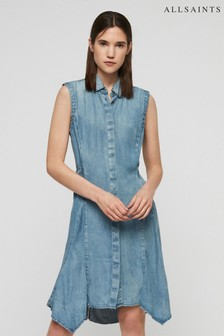 AllSaints Blue Wash Francis Tie Denim Dress