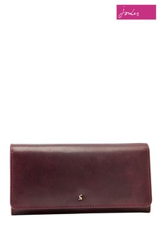 Joules Brown Tally Flap Over Leather Purse