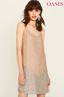 Oasis Natural Sequin Cami Dress
