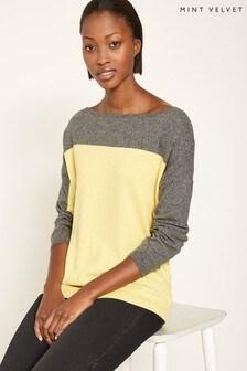 Mint Velvet Yellow Blocked Oversized Knit