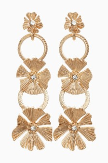 Flower Detail Drop Earrings