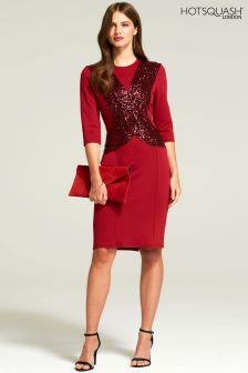 HotSquash Red Sequin Miranda Ponte Dress