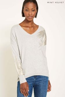 Mint Velvet Grey Foil Paintbrush Effect Star Back V-Neck Knit
