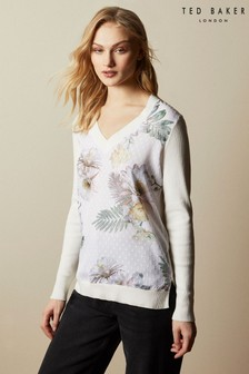 Ted Baker Cream Kaylaaa Woodland V-Neck Jumper