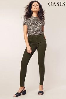 Oasis Lily Skinny Cargo-Jeans, Grün