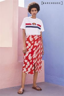 Warehouse Red Daisy Stripe Wrap Skirt
