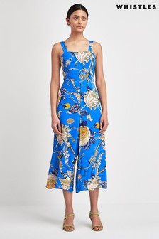 Whistles Blue Exotic Floral Jumpsuit